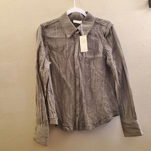 Ramy Brook Olive Green Button Down Blouse NWT LG